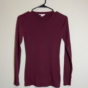 Forever 21 Basic Long Sleeve Maroon Tee